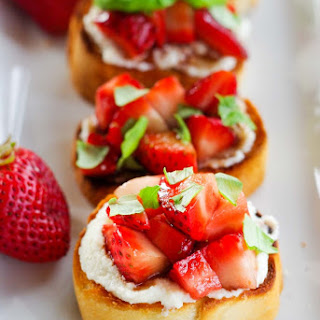 Balsamic Strawberry Toasted Crostini with Ricotta & Fresh Basil