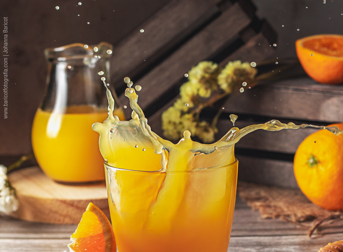 Jugo de naranja | Congelando líquidos en fotografía gastronómica