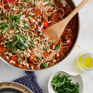 """Mushroom Lentil Spaghetti """"Bolognese""""."""