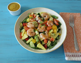 Photo: Tropical Shrimp Salad - A light, healthy, sweet salad made with fresh tropical fruit and shrimp and topped with a mango dressing.  http://www.peanutbutterandpeppers.com/2013/03/26/tropical-shrimp-salad/  #shrimprecipe   #shrimpsalad   #tropicalsalad   #mangodressing   #pineapple   #tropicalfruits   #papayasalad   #glutenfreerecipes   #shrimp