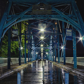 Walnut Street Walking Bridge by Jermaine Pollard - Buildings & Architecture Bridges & Suspended Structures ( chattanooga, landmark, walkingbridge, wood, tennesseee, blue, outdoors, night, bridge, walnutst )