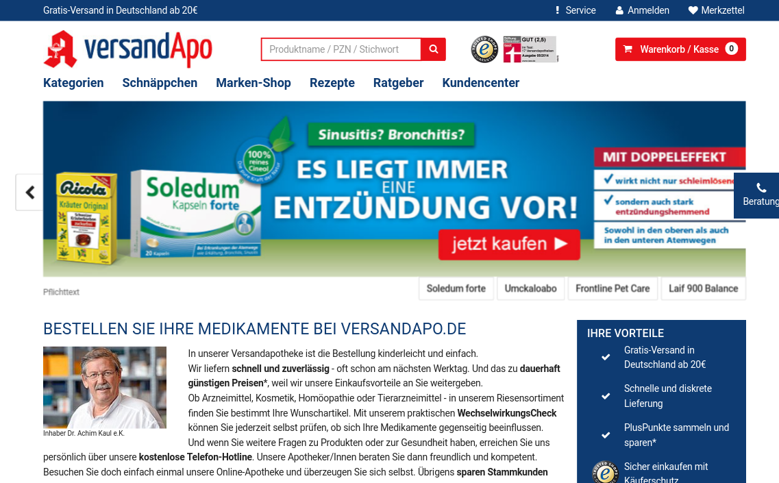 Versandapo.de- screenshot