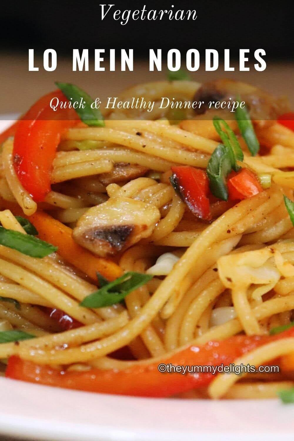Vegetable Lo Mein close-up image. This Lo Mein noodles are served on a white plate. Garnished with spring onion greens./>     <p><strong>If you like this recipe, you may be interested in these other quick dinner recipes:</strong></p>    <ul><li><strong><a href=