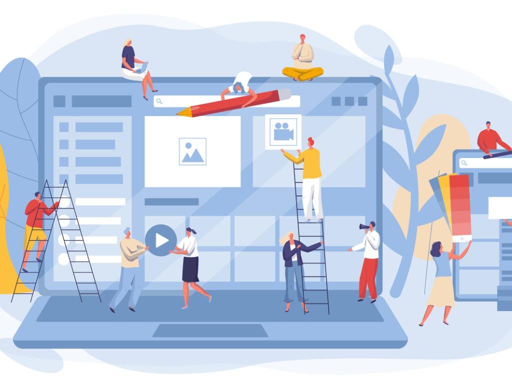 marketing graphic of people trading marketing icons via teamwork