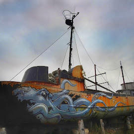 Abandoned Boat with artwork by Patricia Phillips - Artistic Objects Other Objects ( alaska homer artwork paintinf boat abandoned )