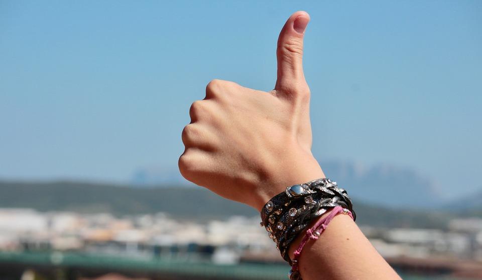 手, 指, ポジティブ, ブレスレット, 親指, 好きな, 幸せです, 安全, Braccialietti