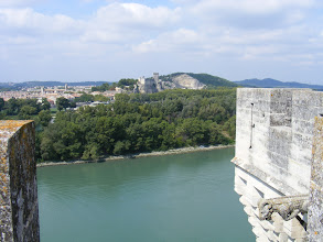 Photo: Now at the top of the castle, looking over to the Rhone to the castle remnants in Beaucaire.