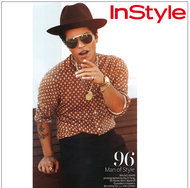 Photo: Spotted // Grammy award-winning musician +Bruno Mars was featured in a story for +InStyle Magazine's February issue, wearing our winter season 'Tokai Shirt'.  Shop Bruno's Look>> UK & Europe> http://bit.ly/13j2OKj US> http://bit.ly/UYgJkW
