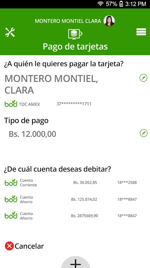 Banca Digital BOD: captura de pantalla