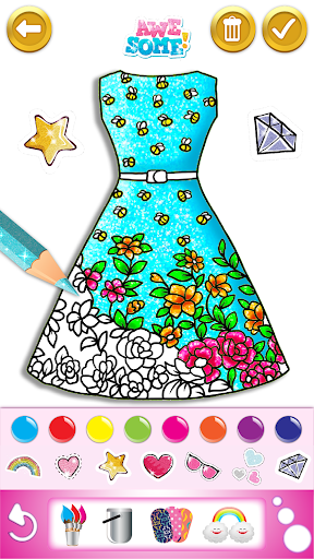 Glitter dress coloring and drawing book for Kids screenshot 3