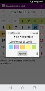 Calendario Laboral España con Festivos 2018 - náhled