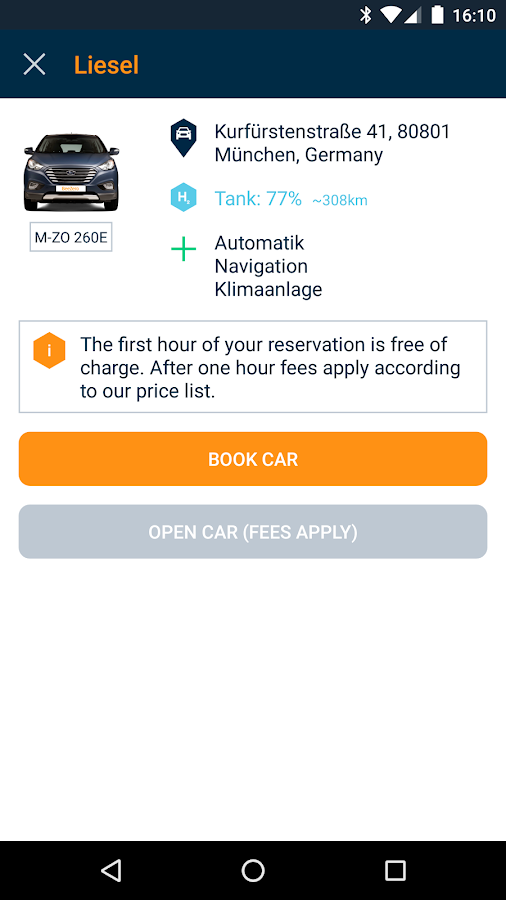 BeeZero Carsharing- screenshot