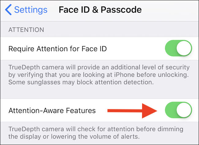 Toggle to enable Face ID Attention-Aware Features