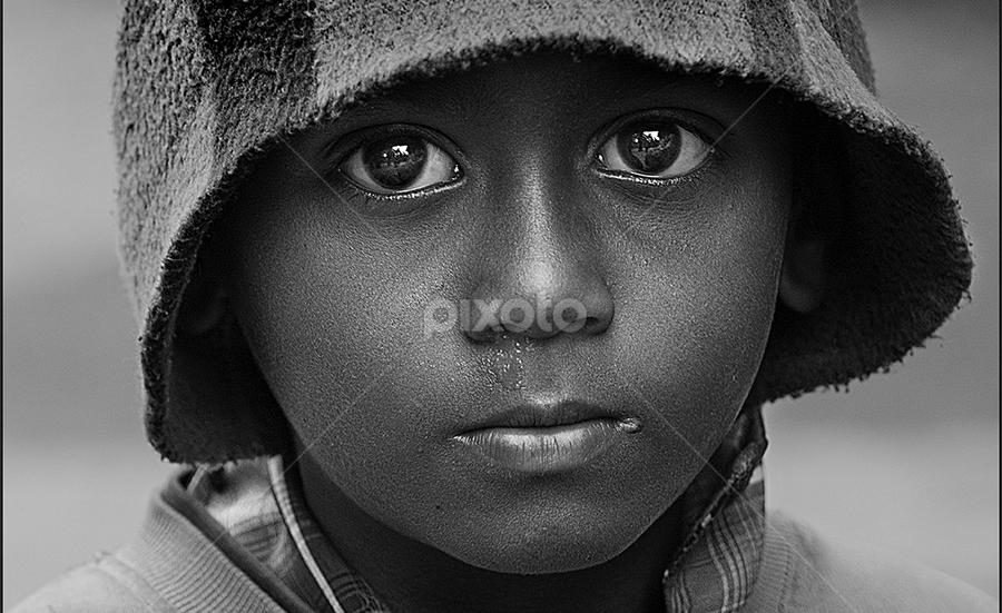 The Beggar's Son by Subrata Kar - People Portraits of Men ( beggar, black and white, son, boy, portrait )