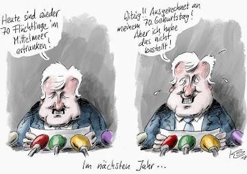 Karikatur «Im nächsten Jahr». Seehofer: «Heute sind wieder 70 Flüchtlinge im Mittelmeer ertrunken!» – ,,,«Witzig!! Ausgerechnet an meinem 70. Geburtstag! Aber ich habe das nicht bestellt!».