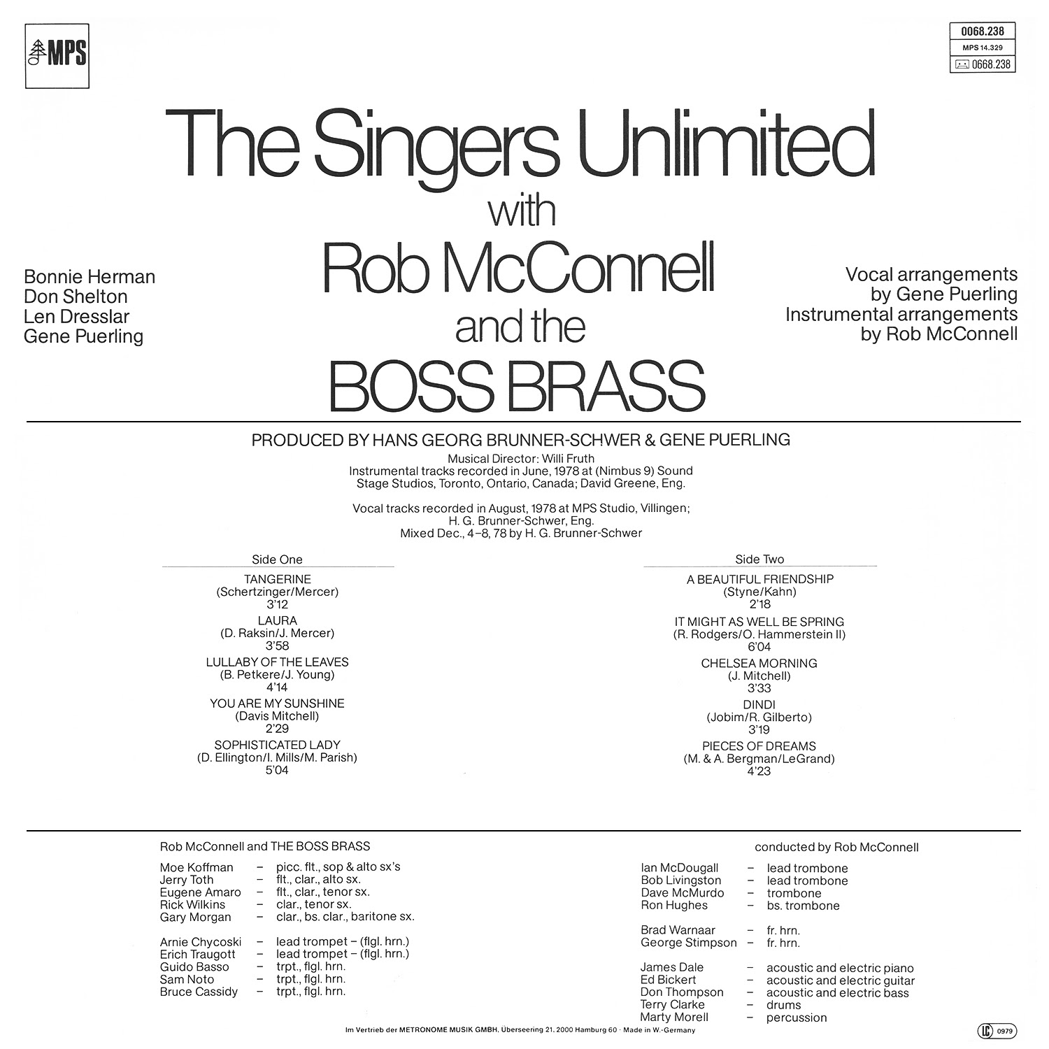 The Singers Unlimited, Rob McConnell, The Boss Brass