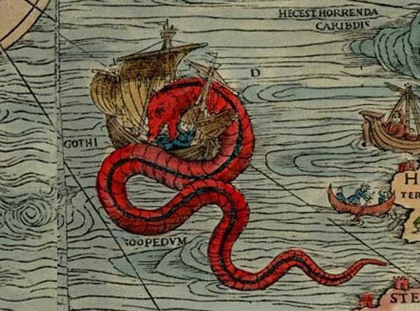 Serpiente marina (de la Carta Marina de Olaus Magnus)