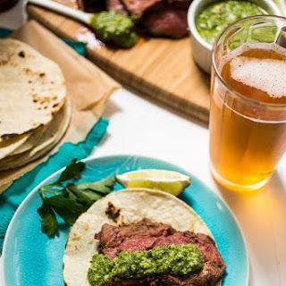 Beer Marinated Ancho Chili Spiced Grilled Lamb.