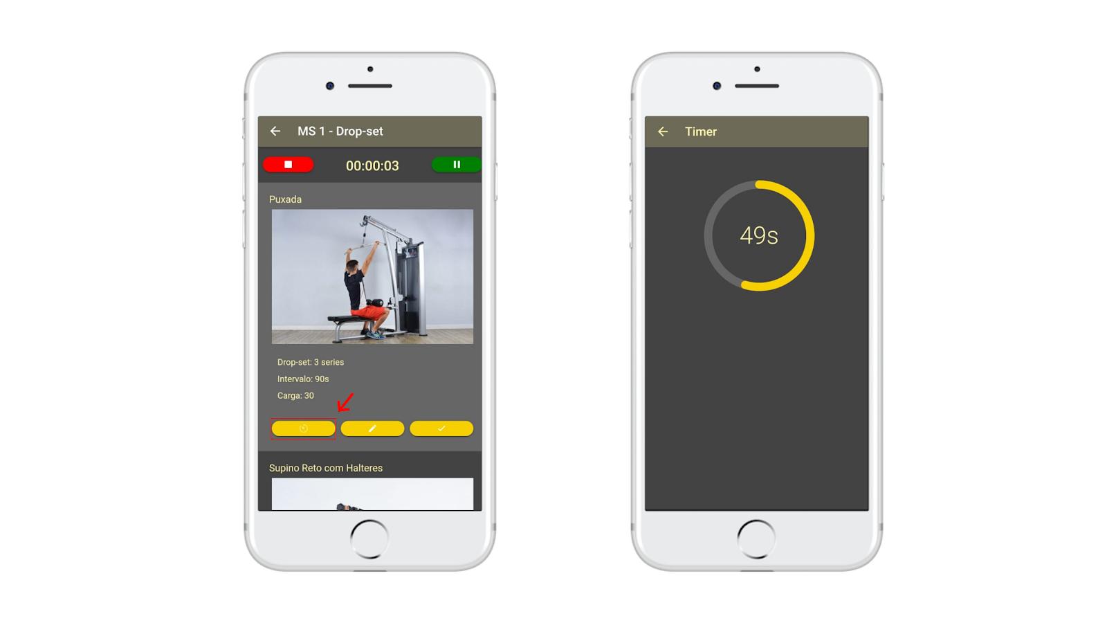 Cronômetro de treino do aplicativo para personal trainer Nexur