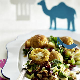 Feta Falafel with Cauliflower and Couscous Salad.