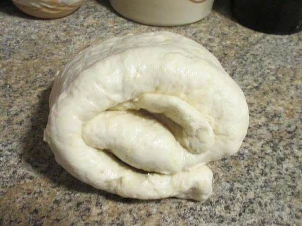 Fold the rectangle of dough in third, turn 90 degrees and fold in thirds...