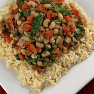 Brown Rice with Black-eyed Peas and Greens.