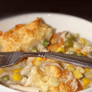 Skillet Chicken Pot Pie With Biscuit Crust.