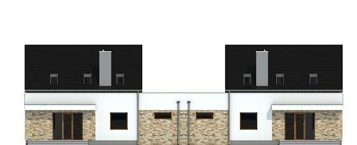 Sosnówka z garażem 1-st. bliźniak A-BL1 - Elewacja tylna