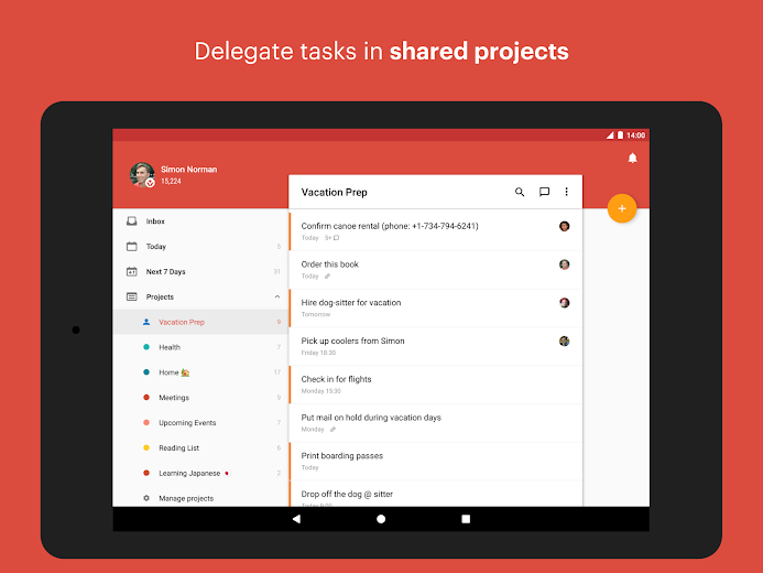 Screenshot 6 for Todoist's Android app'