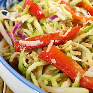 Bean Sprouts and Broccoli Slaw Salad with Coconut-Ginger Dressing.