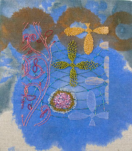 "Photo: Little #1 8""x 9"" Hand embroidery, beadwork and acrylic paint on linen. All rights reserved, Karin Birch 2011"