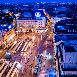 Panoramic View - City Nightlights by Iva Marinić - City,  Street & Park  Street Scenes ( view, city, street, buildings, night, panoramic, nightlights, tram, lights, night photography, squa )