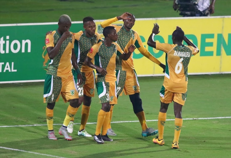 Arrows players celebrate the penalty during the Absa Premiership match between Golden Arrows and Maritzburg United at Princess Magogo Stadium on April 20, 2016 in Durban.