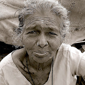 WRINKLED FACE by Doug Hilson - Black & White Portraits & People ( wrinkled face, india, old woman, portrait,  )