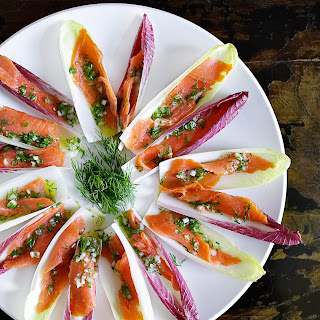 Endive Spears with Smoked Salmon.