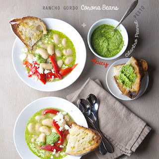 Rancho Gordo Corona Beans with Spicy Cilantro Pesto