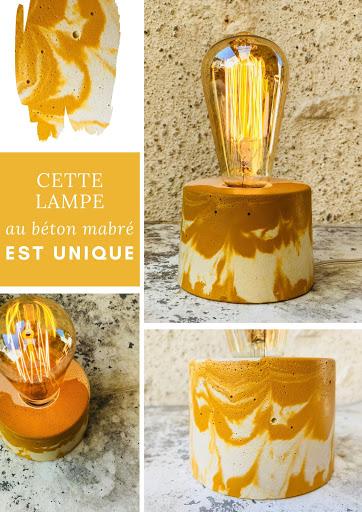 lampe béton effet marbré jaune
