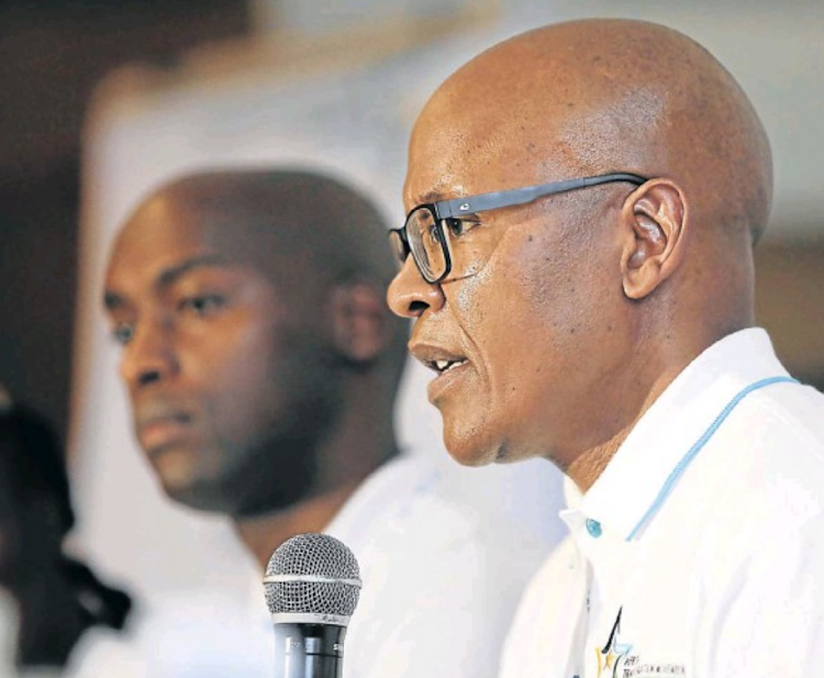 Mzwanele Manyi speaks at the Joburg Theatre on Wednesday, when he announced that he was joining the African Transformation Movement