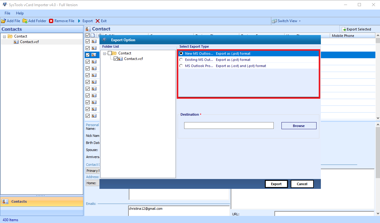 possible ways to save vCard to Outlook contacts