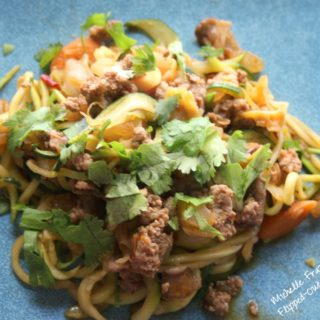 Vegetable and Turkey Lo Mein with Zoodles Recipe