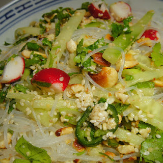 Scallion, Radish, and Cucumber Salad with Cashews and Vermicelli.