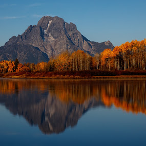 Morning Reflections at Grand Tetons by Sandra Woods - Landscapes Mountains & Hills ( reflection, autumn, wyoming, oxbow bend, sunrise, usa, united states, grand teton national park,  )