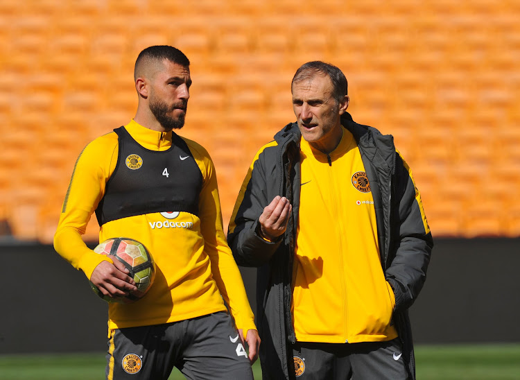 New Kaizer Chiefs head coach Giovanni Solinas speaks to his centre-back Daniel Cardoso during a training session at FNB Stadium on July 20 2018.