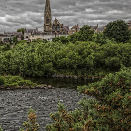 Kelso parish church by Andrew Lancaster - Buildings & Architecture Places of Worship ( water, clouds, building, god, church, stone, beauty, kelso, landscape, religion, parish, trees, river )