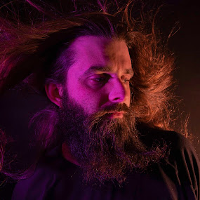 blown away by Duane Vosika - People Portraits of Men ( masculine, orange, hair, self shot, long hair, beard, purple, man, portrait, male, wind,  )