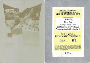 Photo: Chris Getz 2008 Bowman Chrome Draft Prospects Printing Plates Yellow (1/1)