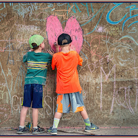 by Judy Rosanno - Babies & Children Children Candids ( march 2018, earth art, llano earth art festival, rock stacking, art, texas, leaf, stones, rocks, rock towers, llano,  )