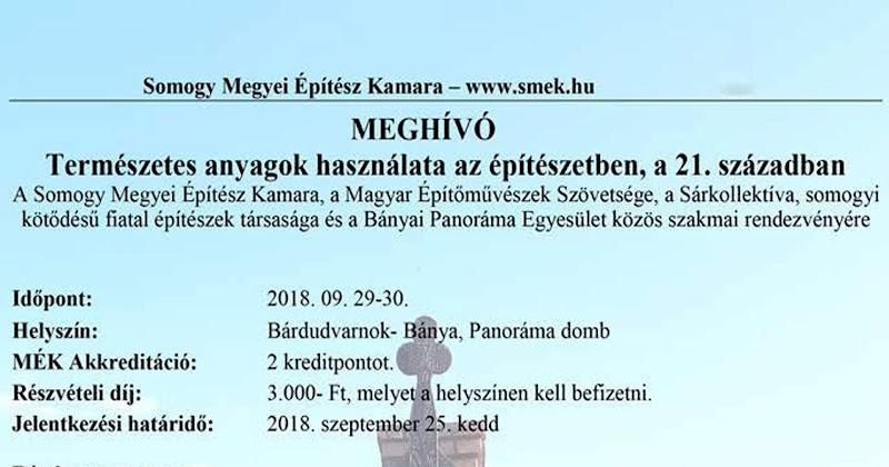 Természetes anyagok használata az építészetben - rendezvény Bánya 2018.09.28-30