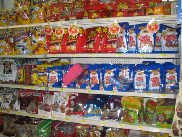 Photo: Wal-Mart has a GIANT selection of dog treats!! This is just part of it!