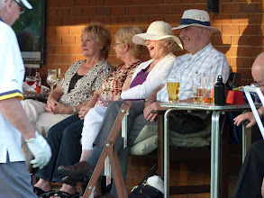 Photo: CAROLE DAVIES, EUNICE HARGREAVES AND VAL & CYRIL COOPER ENJOYING THE EVENING. IS THAT A FAMILIAR HEAD AT THE SIDE?